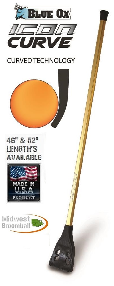 "Blue Ox Icon ""Curve"" <BR> 5, 10 or 20mm Broomball Stick"