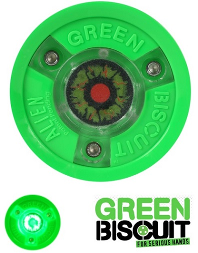 Green biscuit alien br light up hockey puck mozeypictures Images