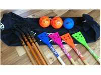 Family Broomball Set <BR> 8 Sticks, 3 Balls & Bag