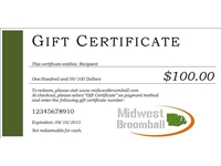 Midwest Broomball <BR> Gift Certificate